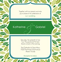 Leaves A Plenty Square Wedding Invites Flat Cards - Front