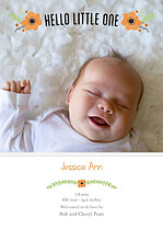 Little One Orange Birth Announcements Flat Cards - Front