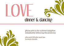 Love Celebration Reception Flat Cards - Front
