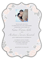 Floral Wreath Invitation Pink Ornate Wedding Invites Flat Cards - Front