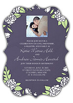 Floral Wreath Invitation Purple Ornate Wedding Invites Flat Cards - Front