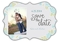 Floral Wreath Date Aqua Ornate Save the Date Flat Cards - Front
