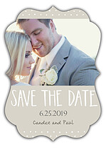 Swiss Dot Date Neutral Ornate Save the Date Flat Cards - Front