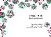 Poppy Blooms Reception Flat Cards - Front