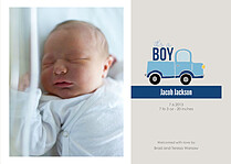 Precious Cargo Blue Birth Announcements Flat Cards - Front
