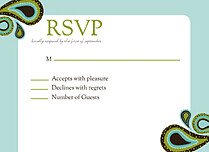 Precious Paisley RSVP Flat Cards - Front