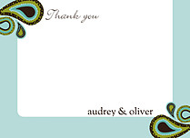 Precious Paisley Thank You Flat Cards - Front