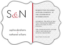 Scalloped Pattern Ornate Wedding Invites Flat Cards - Front