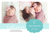 Seal of Approval Teal Birth Announcements Flat Cards - Front