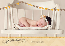 Shimmer Banner Dark Khaki Birth Announcements Flat Cards - Front