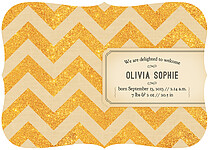 Shimmer Banner Tan Ornate Birth Announcements Flat Cards - Back