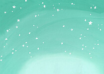 Shining Stars Aqua Green Christmas Flat Cards - Back