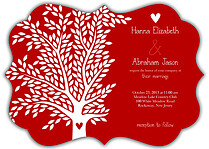 Tree of Love Ornate Wedding Invites Flat Cards - Front