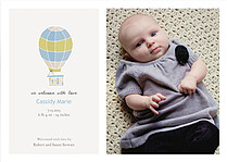 Up and Away Blue Birth Announcements Flat Cards - Front