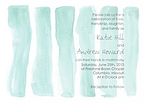 Watercolor Invitation Aqua Wedding Invites Flat Cards - Front