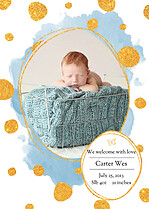 Watercolor Shimmer Blue Birth Announcements Flat Cards - Front
