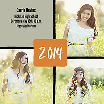 Triple Pane Orange Square Graduation Flat Cards - Front