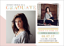 Chic And Sleek Graduation Flat Cards - Front