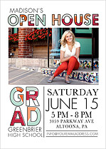 House Party Graduation Flat Cards - Front