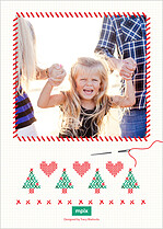 Cross Stitch Cheer Holiday Flat Cards - Back