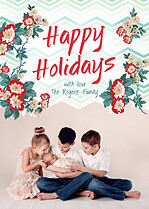 Floral Fun Holiday Flat Cards - Front