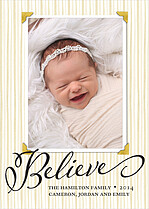 Holiday Miracle Birth Announcements Flat Cards - Front