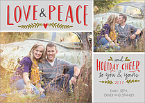 Love And Peace Holiday Flat Cards - Front