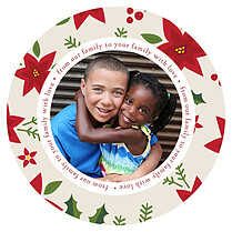 Lovely Trimming Circle Christmas Flat Cards - Front