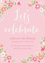 Pretty Petals Birthday Party Invitations Flat Cards - Front
