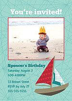 Set Sail Birthday Party Invitations Flat Cards - Front