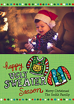 Ugly Sweater Season Holiday Flat Cards - Front