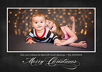 Bountiful Blessings Black Christmas Flat Cards - Front