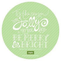 Christmas Celebration Circle Green Christmas Flat Cards - Back
