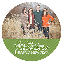 Christmas Celebration Circle Green Christmas Flat Cards - Front