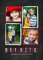 Christmas Collage Red Christmas Flat Cards - Front