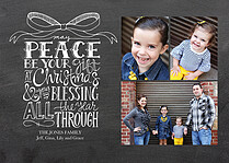Gift Of Peace Black Christmas Flat Cards - Front