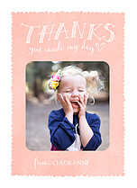 Gleeful Gratitude Pink Thank You Folded Cards - Front
