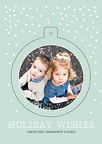 Let It Snow Cyan Pop Circle Holiday Modern Pop Cards - Back