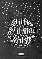 Let It Snow Cyan Pop Circle Holiday Modern Pop Cards - Front