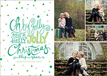 Oh By Golly Green Christmas Flat Cards - Front