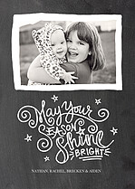 Shine Bright Black Holiday Flat Cards - Front
