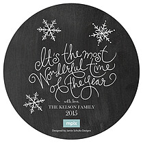 Snowflake Circle Black Christmas Flat Cards - Front