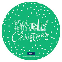 Snowfall Circle Green Christmas Flat Cards - Front