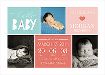 Adorable Arrival Pink Birth Announcements Flat Cards - Front