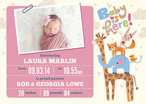 Baby Is Here Pink Birth Announcements Flat Cards - Front
