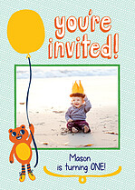 Beaming Balloons Birthday Party Invitations Flat Cards - Front