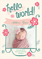 Budding Welcome Birth Announcements Flat Cards - Front
