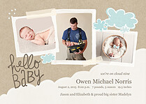Cloud Nine Birth Announcements Flat Cards - Front