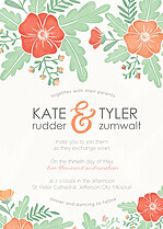 Finest Floral Invitation Wedding Invites Flat Cards - Front