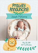King Of The Jungle Birth Announcements Flat Cards - Front